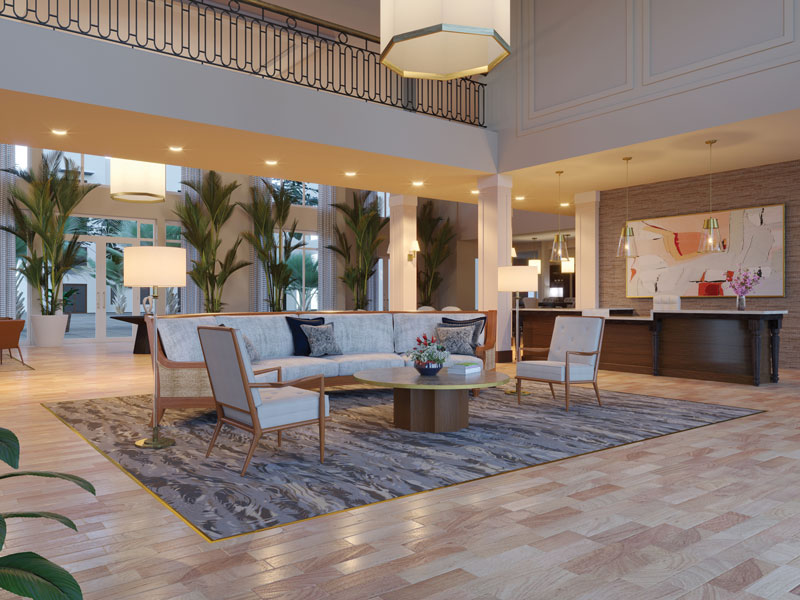 Lobby at amavida senior living community