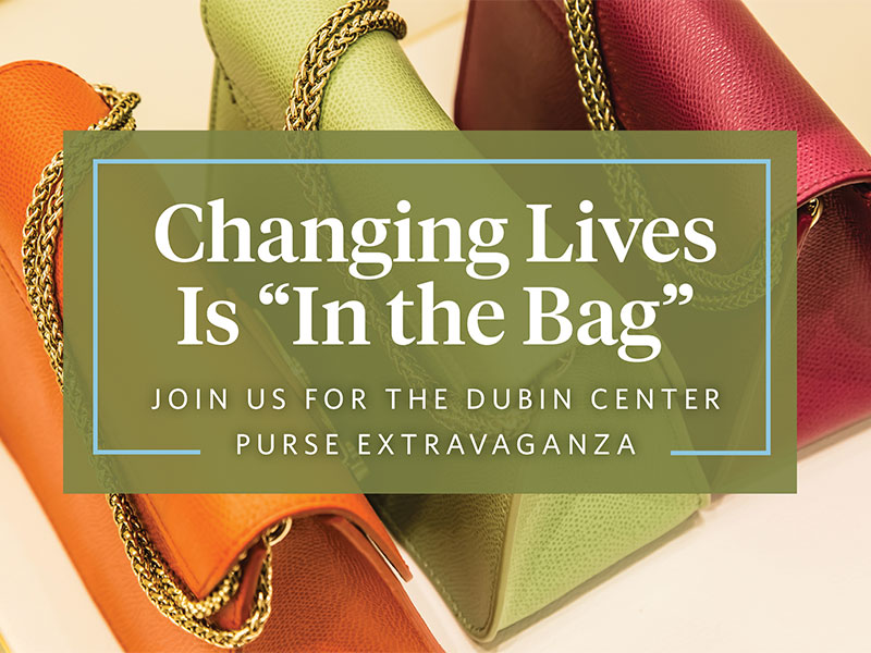 "Photo of colorful purses with ""changing lives is in the bag"" text overlay"