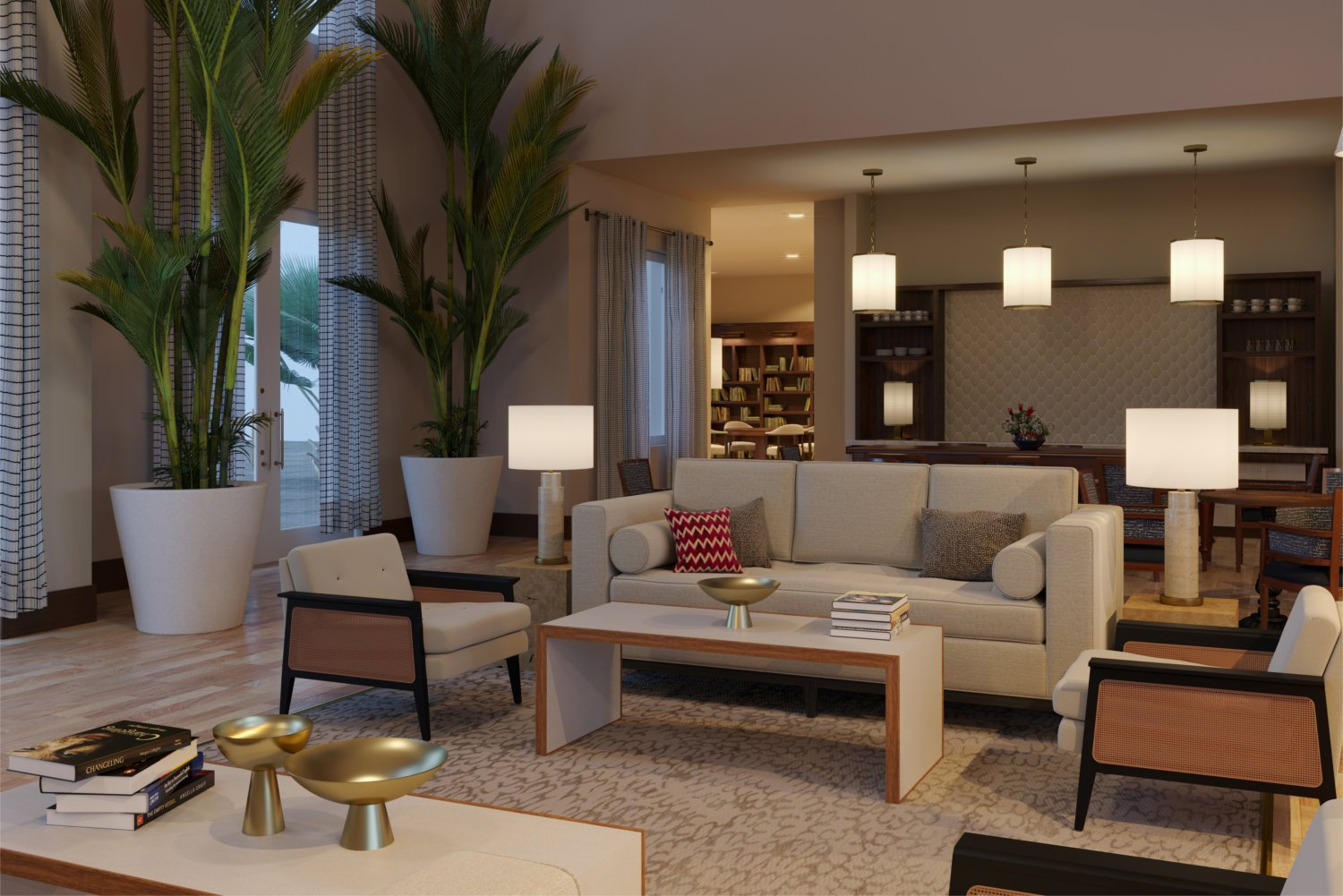 Rendering of living room in community