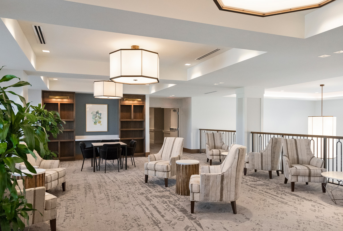 The Vistas Assisted Living Reading Lobby is located on the second floor over looking the main lobby a favorite sitting place for quite time.