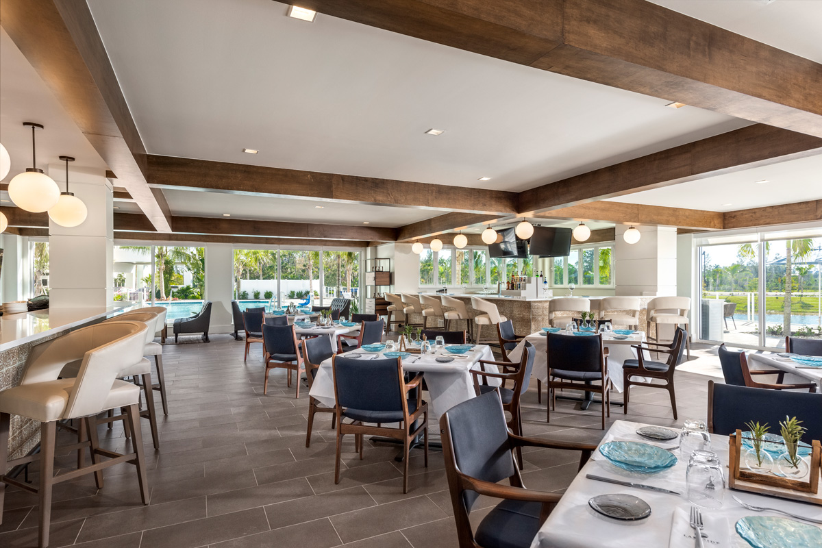 Lakeside Grill and Bar is a favorite for residents to invite guests and enjoy the relaxed Florida lifestyle.