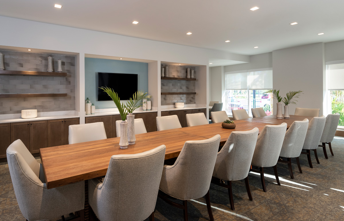 Complimenting our restaurant dining options residents also can enjoy the services of a private dining room if hosting parties.