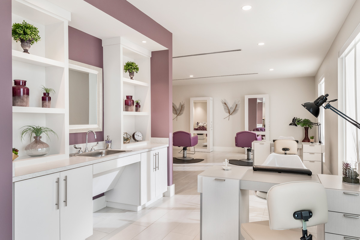 Waters Edge Independent Living enjoys the pampering of a full service beauty salon and spa.