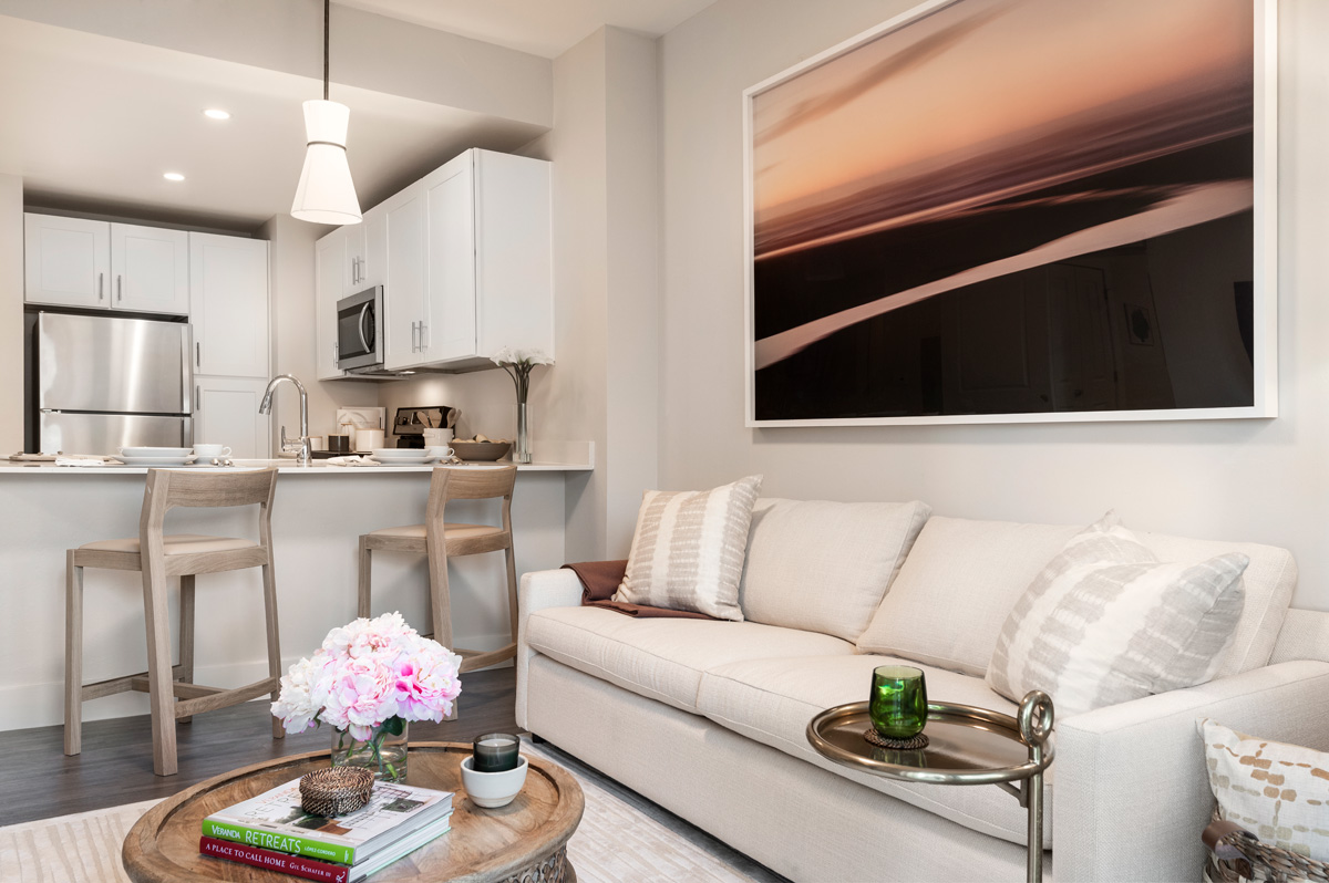 This completed model provides an opportunity to see what it looks like when an apartment is lived in. Envision yourself living here.