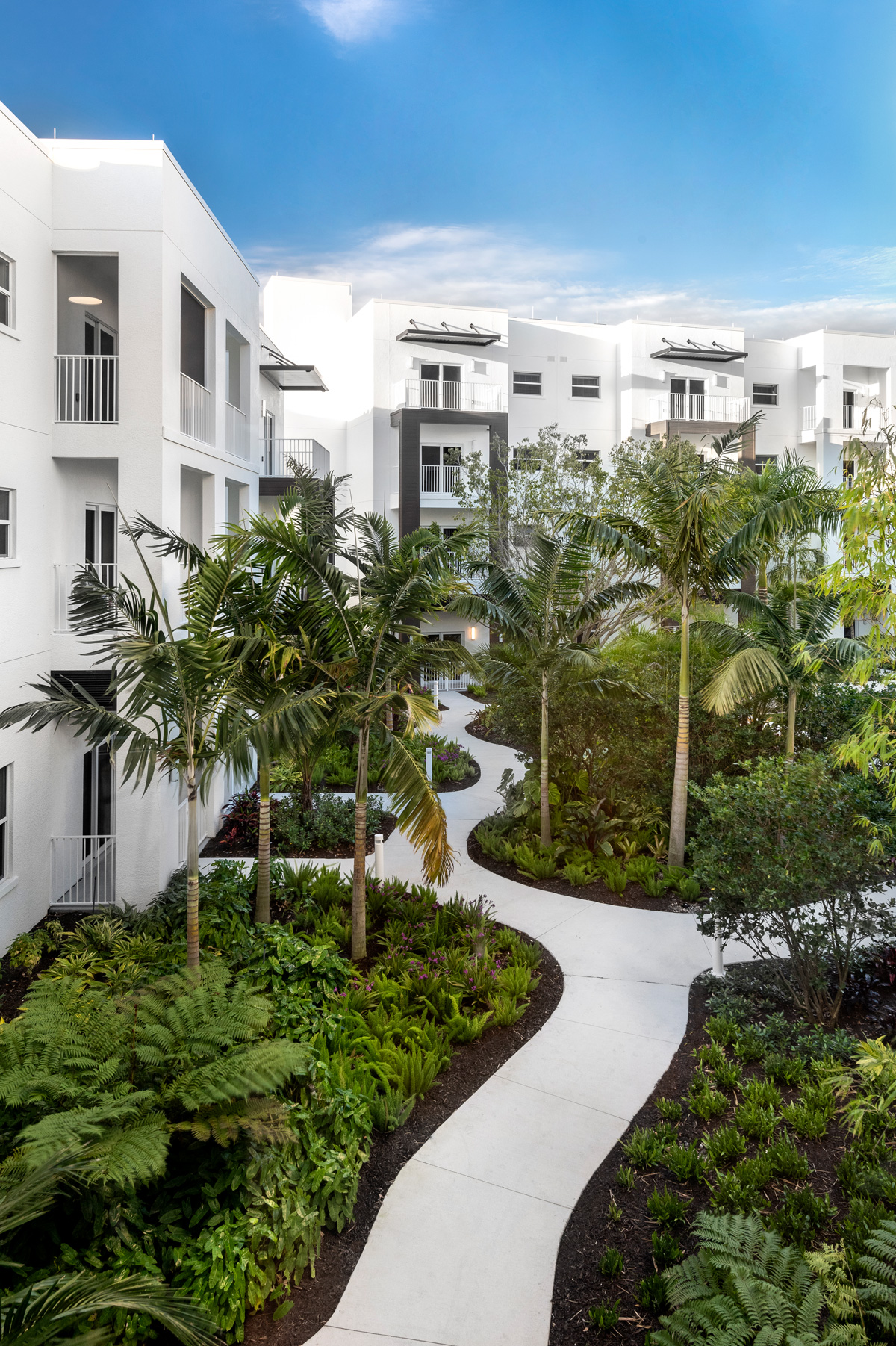 One the enjoyable garden pathways which wind through the Waters Edge Independent Living courtyard.