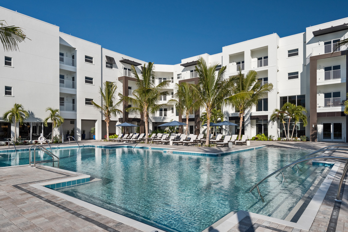 The beautiful resort pool is center to Azure and Lakeside Grill as well as next to the fitness gym.