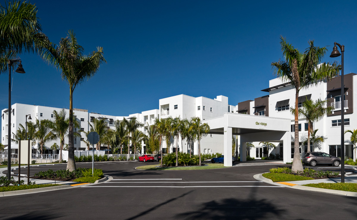 The enterance portico for The Vistas our beautiful assisted living community.